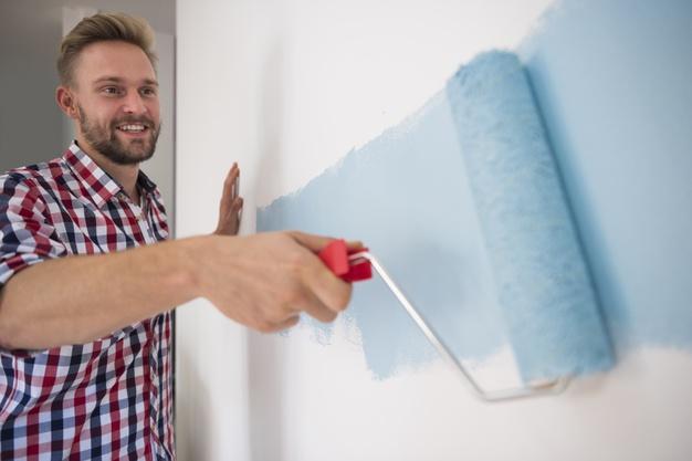 blå maling til væg
